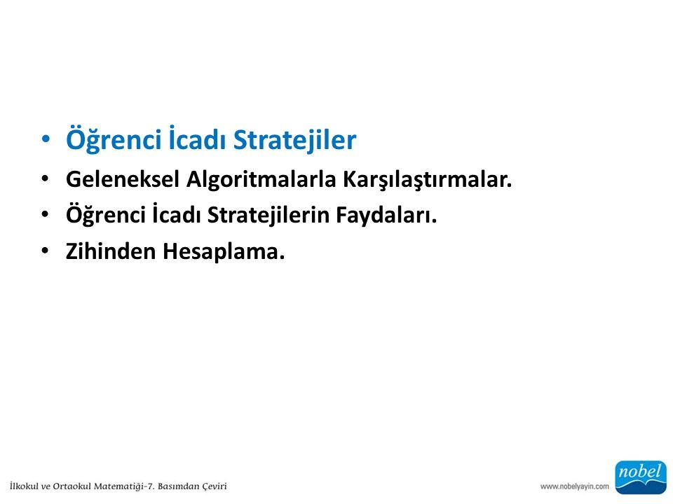 Öğrenci İcadı Stratejiler Geleneksel Algoritmalarla Karşılaştırmalar.