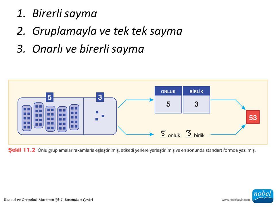 1.Birerli sayma 2.Gruplamayla ve tek tek sayma 3.Onarlı ve birerli sayma