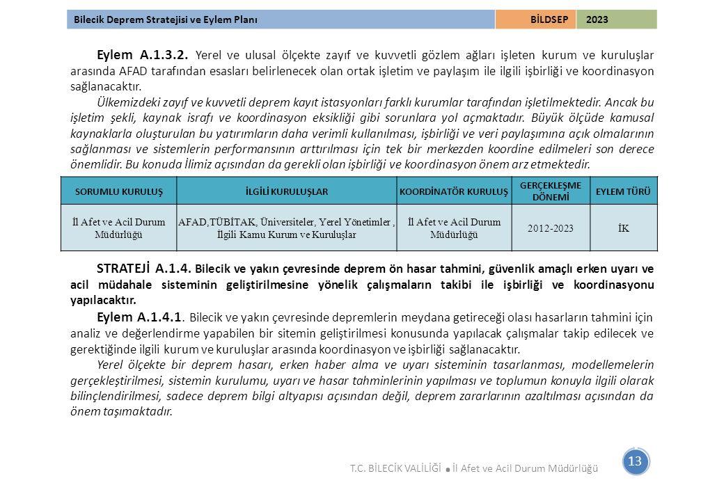 Bilecik Deprem Stratejisi ve Eylem PlanıBİLDSEP 2023 Eylem A.1.3.2. Yerel ve ulusal ölçekte zayıf ve kuvvetli gözlem ağları işleten kurum ve kuruluşla