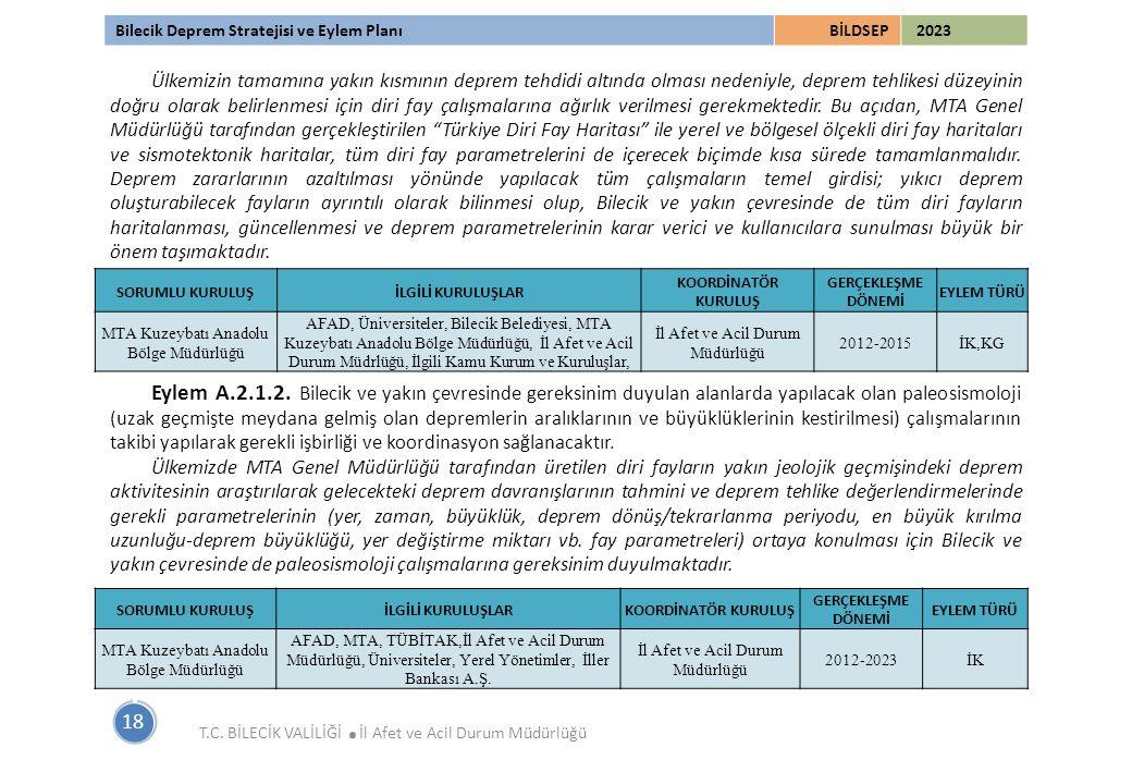 Bilecik Deprem Stratejisi ve Eylem PlanıBİLDSEP 2023 18 T.C. BİLECİK VALİLİĞİ. İl Afet ve Acil Durum Müdürlüğü Ülkemizin tamamına yakın kısmının depre
