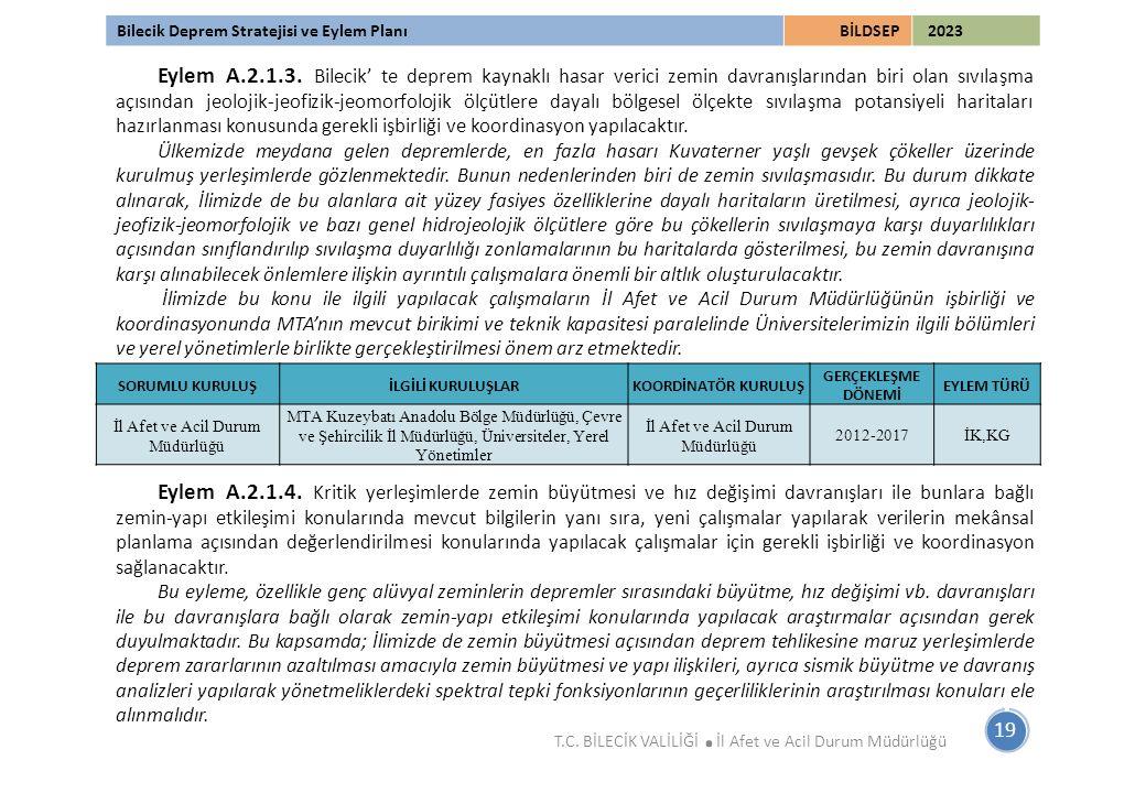 Bilecik Deprem Stratejisi ve Eylem PlanıBİLDSEP 2023 19 T.C. BİLECİK VALİLİĞİ. İl Afet ve Acil Durum Müdürlüğü Eylem A.2.1.3. Bilecik' te deprem kayna