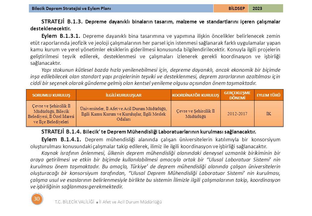 Bilecik Deprem Stratejisi ve Eylem PlanıBİLDSEP 2023 T.C. BİLECİK VALİLİĞİ. İl Afet ve Acil Durum Müdürlüğü 30 STRATEJİ B.1.3. Depreme dayanıklı binal