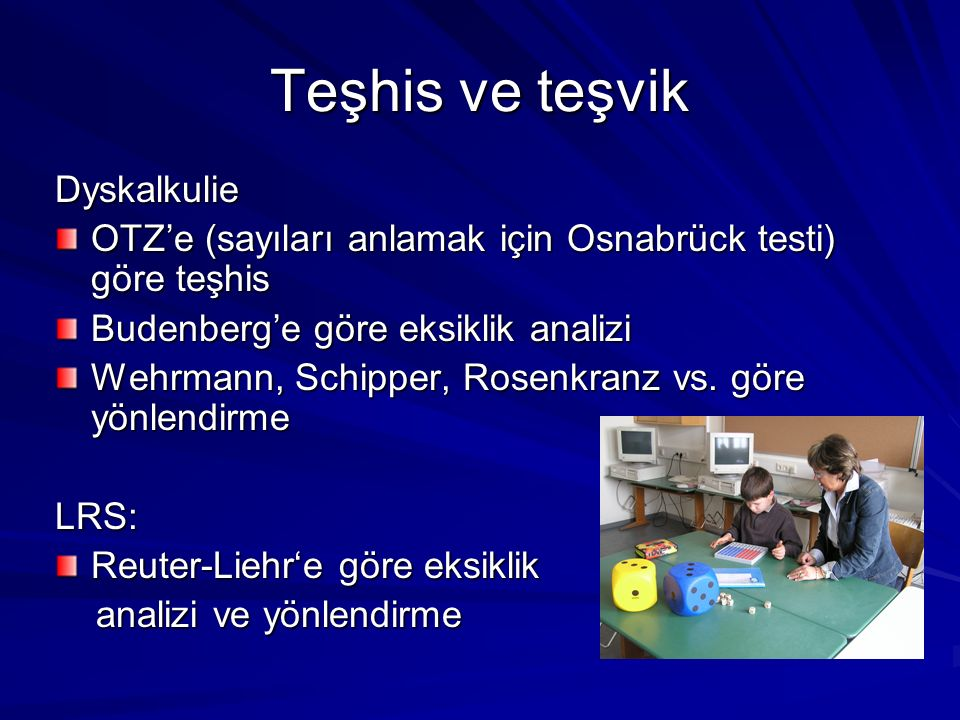 Teşhis ve teşvik Dyskalkulie OTZe (sayıları anlamak için Osnabrück testi) göre teşhis Budenberge göre eksiklik analizi Wehrmann, Schipper, Rosenkranz