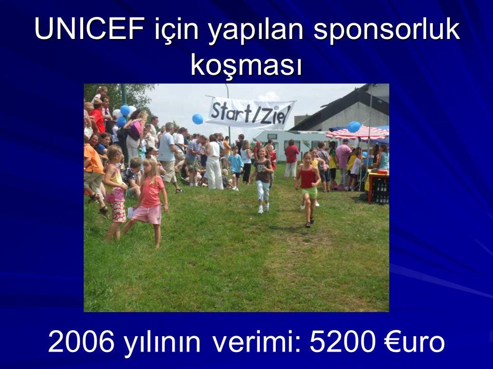 UNICEF için yapılan sponsorluk koşması 2006 yılının verimi: 5200 uro