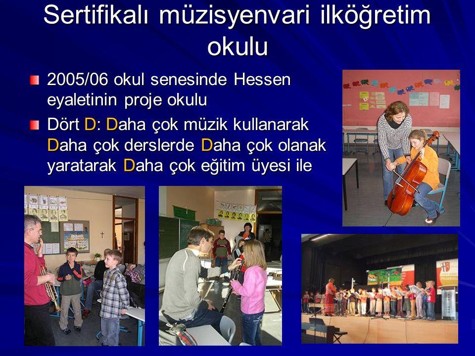 Sertifikalı müzisyenvari ilköğretim okulu 2005/06 okul senesinde Hessen eyaletinin proje okulu Dört D: Daha çok müzik kullanarak Daha çok derslerde Da