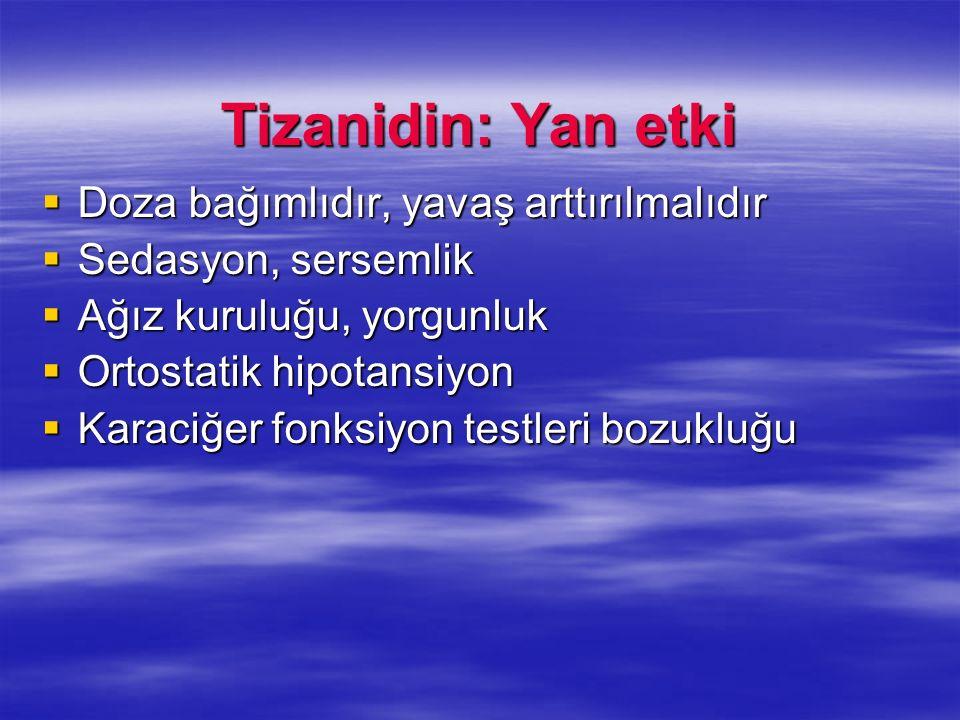 Tizanidin: Yan etki Doza bağımlıdır, yavaş arttırılmalıdır Doza bağımlıdır, yavaş arttırılmalıdır Sedasyon, sersemlik Sedasyon, sersemlik Ağız kuruluğ