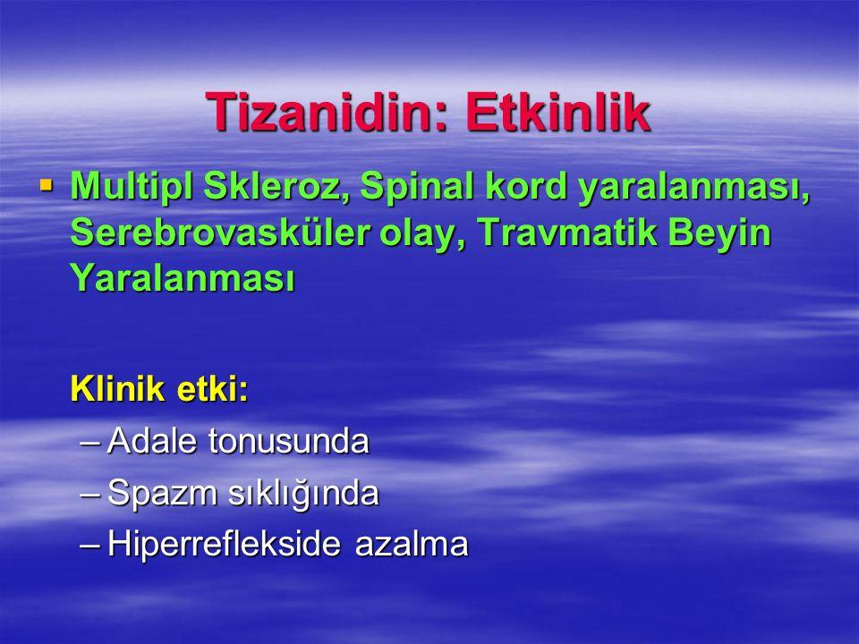 Tizanidin: Etkinlik Multipl Skleroz, Spinal kord yaralanması, Serebrovasküler olay, Travmatik Beyin Yaralanması Multipl Skleroz, Spinal kord yaralanma