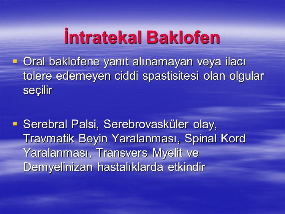 İntratekal Baklofen Oral baklofene yanıt alınamayan veya ilacı tolere edemeyen ciddi spastisitesi olan olgular seçilir Oral baklofene yanıt alınamayan