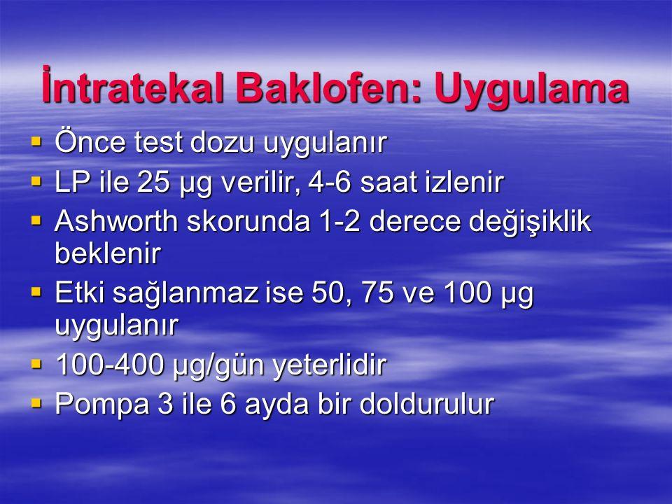 İntratekal Baklofen: Uygulama Önce test dozu uygulanır Önce test dozu uygulanır LP ile 25 µg verilir, 4-6 saat izlenir LP ile 25 µg verilir, 4-6 saat
