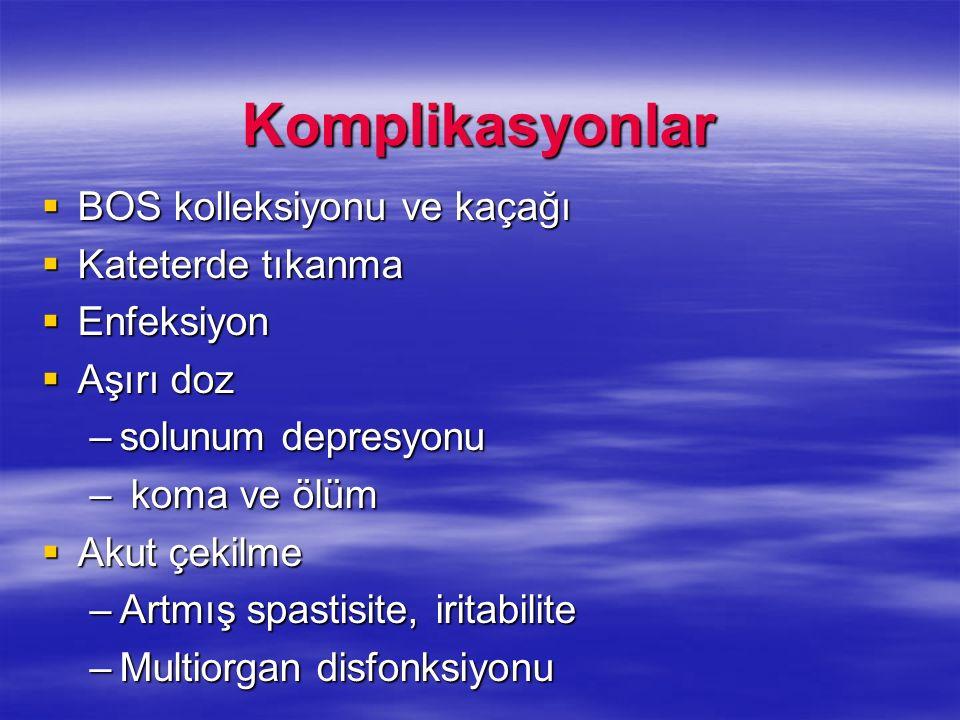 Komplikasyonlar BOS kolleksiyonu ve kaçağı BOS kolleksiyonu ve kaçağı Kateterde tıkanma Kateterde tıkanma Enfeksiyon Enfeksiyon Aşırı doz Aşırı doz –s