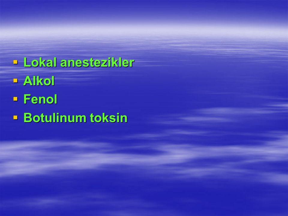 Lokal anestezikler Lokal anestezikler Alkol Alkol Fenol Fenol Botulinum toksin Botulinum toksin