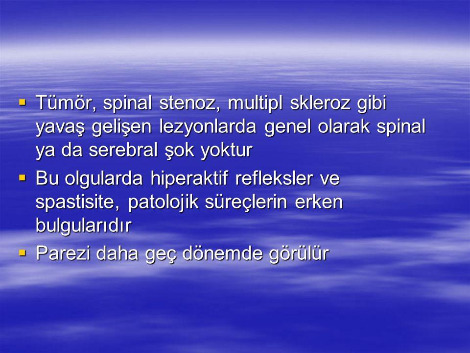 Tümör, spinal stenoz, multipl skleroz gibi yavaş gelişen lezyonlarda genel olarak spinal ya da serebral şok yoktur Tümör, spinal stenoz, multipl skler