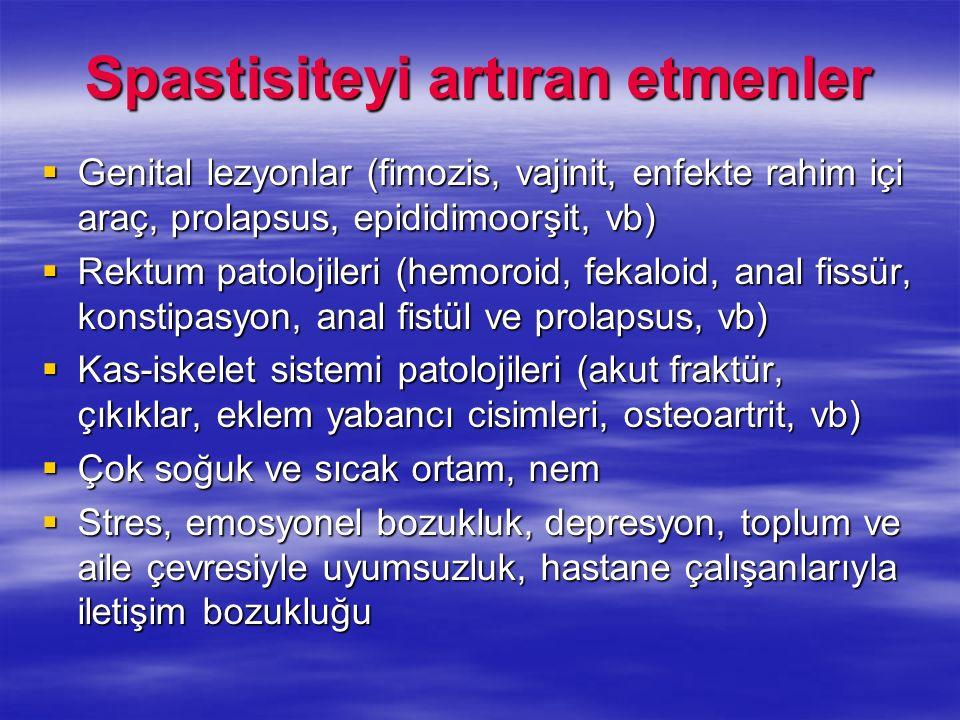 Spastisiteyi artıran etmenler Genital lezyonlar (fimozis, vajinit, enfekte rahim içi araç, prolapsus, epididimoorşit, vb) Genital lezyonlar (fimozis,