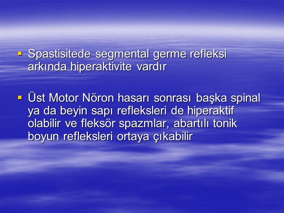 Üst Motor Nöron Sendromu (ÜMN) Üst Motor Nöron Sendromu (ÜMN) ÜMN sendromu kortikal, subkortikal ya da omurilik lezyonu sonrası ortaya çıkan ÜMN sendromu kortikal, subkortikal ya da omurilik lezyonu sonrası ortaya çıkan Güçsüzlük Güçsüzlük Koordinasyon bozukluğu Koordinasyon bozukluğu Spastisite Spastisite Artmış tendon refleksleri Artmış tendon refleksleri Babinski cevabı ile karakterize motor kontrol bozukluğu olarak tanımlanmıştır Babinski cevabı ile karakterize motor kontrol bozukluğu olarak tanımlanmıştır