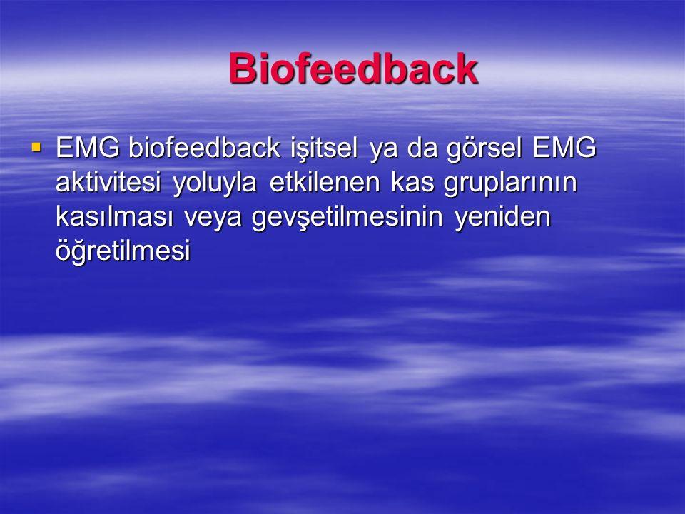 Biofeedback Biofeedback EMG biofeedback işitsel ya da görsel EMG aktivitesi yoluyla etkilenen kas gruplarının kasılması veya gevşetilmesinin yeniden ö