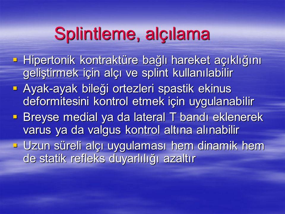 Splintleme, alçılama Hipertonik kontraktüre bağlı hareket açıklığını geliştirmek için alçı ve splint kullanılabilir Hipertonik kontraktüre bağlı harek