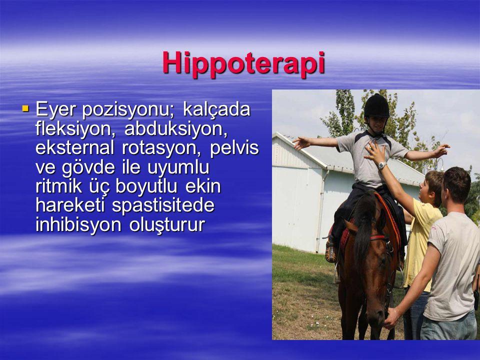 Hippoterapi Hippoterapi Eyer pozisyonu; kalçada fleksiyon, abduksiyon, eksternal rotasyon, pelvis ve gövde ile uyumlu ritmik üç boyutlu ekin hareketi