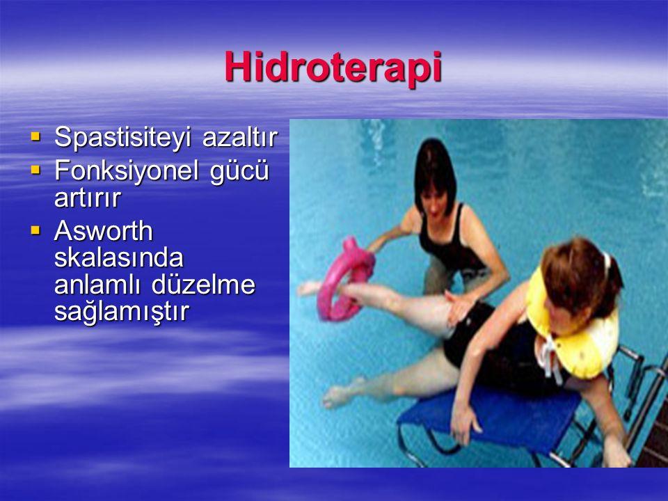 Hidroterapi Spastisiteyi azaltır Spastisiteyi azaltır Fonksiyonel gücü artırır Fonksiyonel gücü artırır Asworth skalasında anlamlı düzelme sağlamıştır