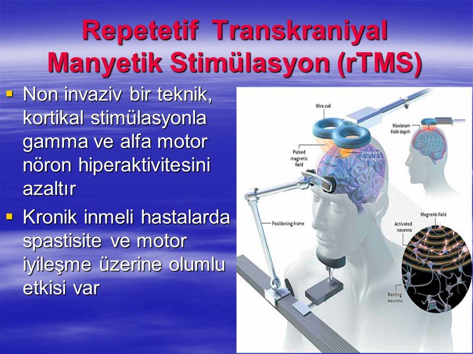 Repetetif Transkraniyal Manyetik Stimülasyon (rTMS) Non invaziv bir teknik, kortikal stimülasyonla gamma ve alfa motor nöron hiperaktivitesini azaltır