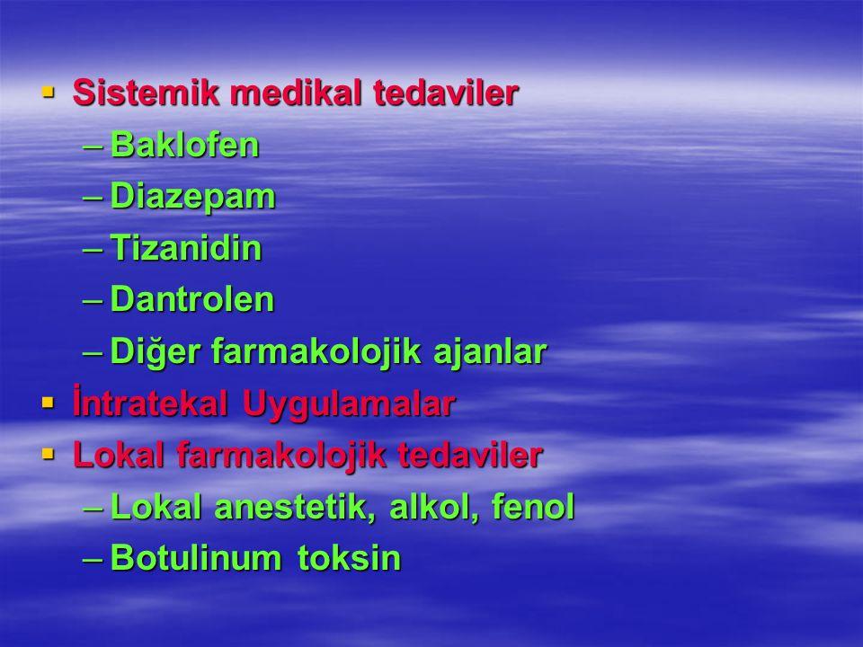 Sistemik medikal tedaviler Sistemik medikal tedaviler –Baklofen –Diazepam –Tizanidin –Dantrolen –Diğer farmakolojik ajanlar İntratekal Uygulamalar İnt