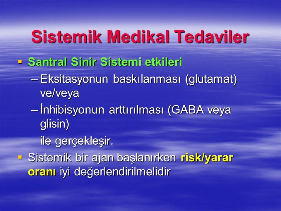 Sistemik Medikal Tedaviler Santral Sinir Sistemi etkileri Santral Sinir Sistemi etkileri –Eksitasyonun baskılanması (glutamat) ve/veya –İnhibisyonun a