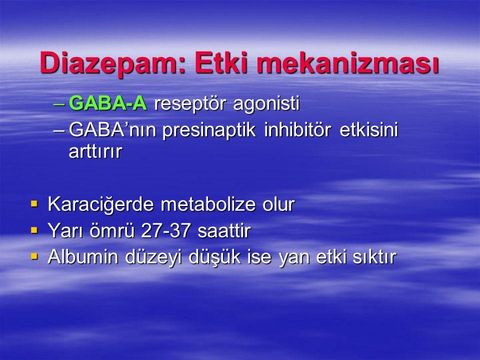 Diazepam: Etki mekanizması –GABA-A reseptör agonisti –GABAnın presinaptik inhibitör etkisini arttırır Karaciğerde metabolize olur Karaciğerde metaboli