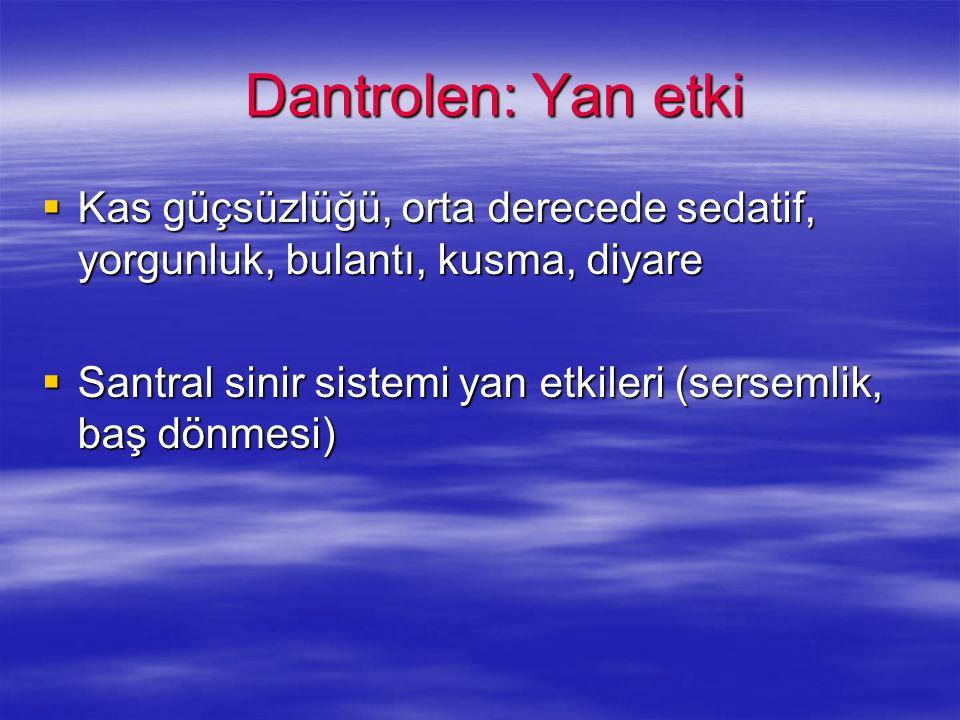 Dantrolen: Yan etki Dantrolen: Yan etki Kas güçsüzlüğü, orta derecede sedatif, yorgunluk, bulantı, kusma, diyare Kas güçsüzlüğü, orta derecede sedatif