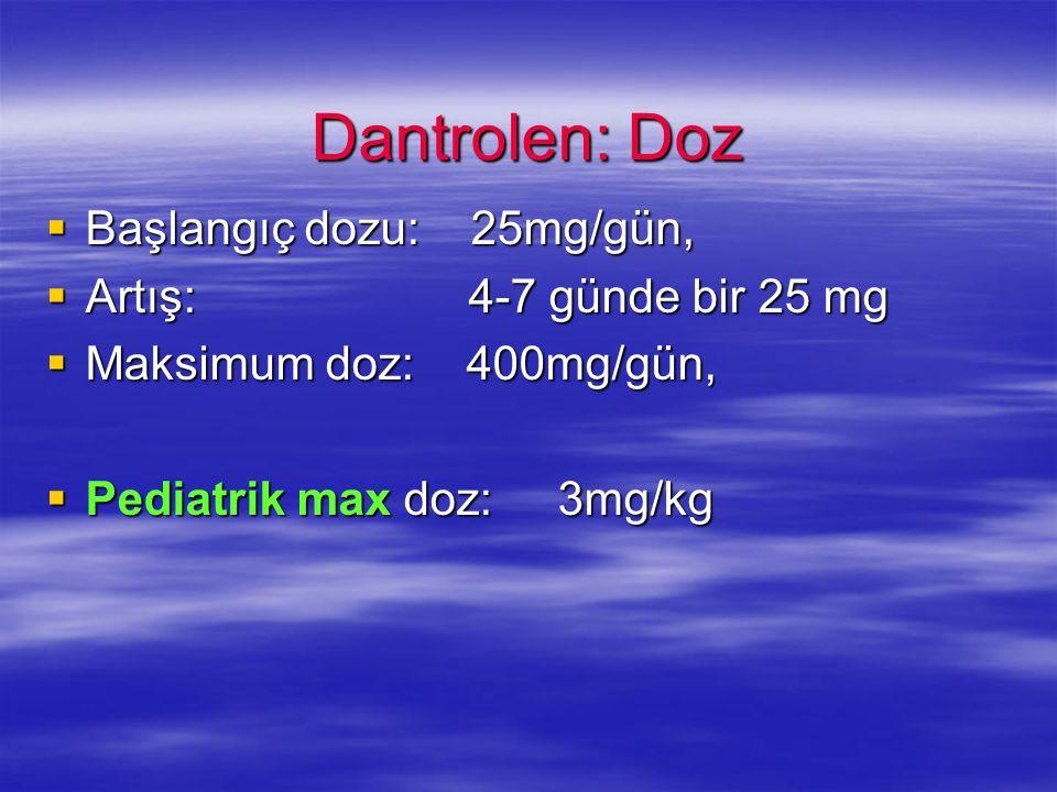 Dantrolen: Doz Başlangıç dozu: 25mg/gün, Başlangıç dozu: 25mg/gün, Artış: 4-7 günde bir 25 mg Artış: 4-7 günde bir 25 mg Maksimum doz: 400mg/gün, Maks