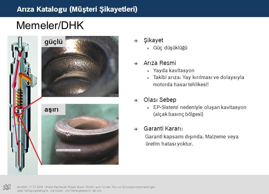 32 Arıza Katalogu (Müşteri Şikayetleri) AA/ASA   11.07.2006   © Alle Rechte bei Robert Bosch GmbH, auch für den Fall von Schutzrechtsanmeldungen.