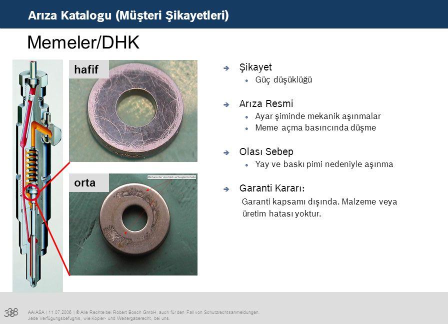 38 Arıza Katalogu (Müşteri Şikayetleri) AA/ASA | 11.07.2006 | © Alle Rechte bei Robert Bosch GmbH, auch für den Fall von Schutzrechtsanmeldungen. Jede