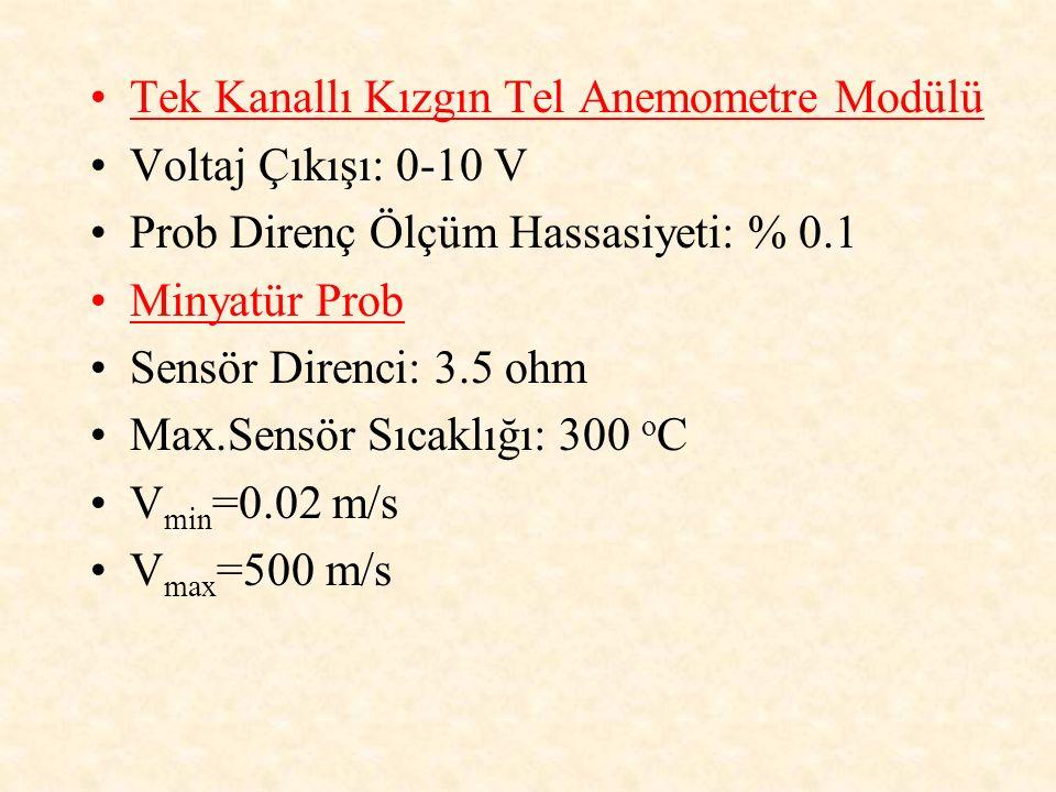 Tek Kanallı Kızgın Tel Anemometre Modülü Voltaj Çıkışı: 0-10 V Prob Direnç Ölçüm Hassasiyeti: % 0.1 Minyatür Prob Sensör Direnci: 3.5 ohm Max.Sensör S