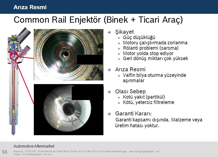 56 Arıza Resmi Abteilung | 18.09.2006 | © Alle Rechte bei Robert Bosch GmbH, auch für den Fall von Schutzrechtsanmeldungen. Jede Verfügungsbefugnis, w
