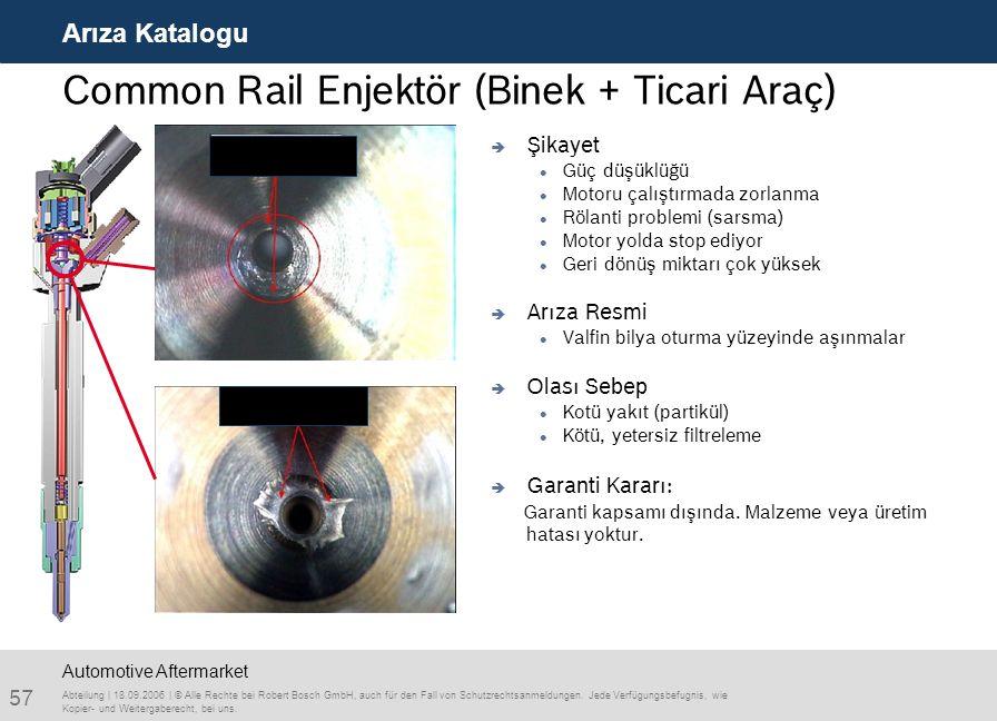57 Arıza Katalogu Abteilung | 18.09.2006 | © Alle Rechte bei Robert Bosch GmbH, auch für den Fall von Schutzrechtsanmeldungen. Jede Verfügungsbefugnis