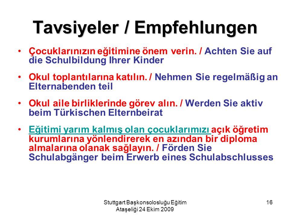 Stuttgart Başkonsolosluğu Eğitim Ataşeliği 24 Ekim 2009 16 Tavsiyeler / Empfehlungen Çocuklarınızın eğitimine önem verin. / Achten Sie auf die Schulbi