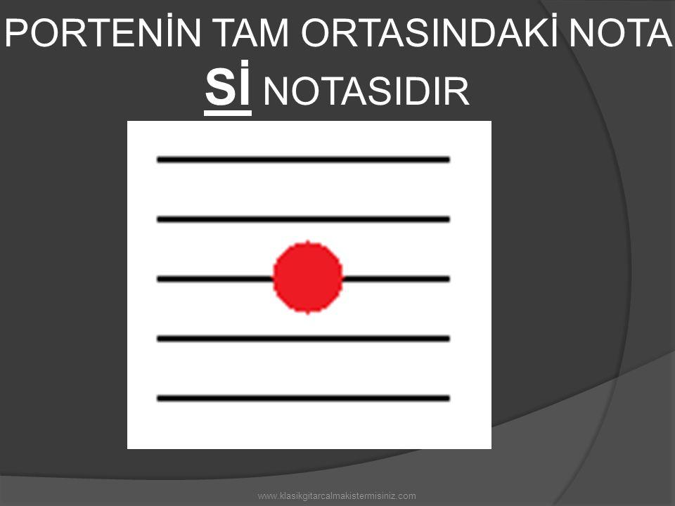 PORTENİN TAM ORTASINDAKİ NOTA Sİ NOTASIDIR www.klasikgitarcalmakistermisiniz.com