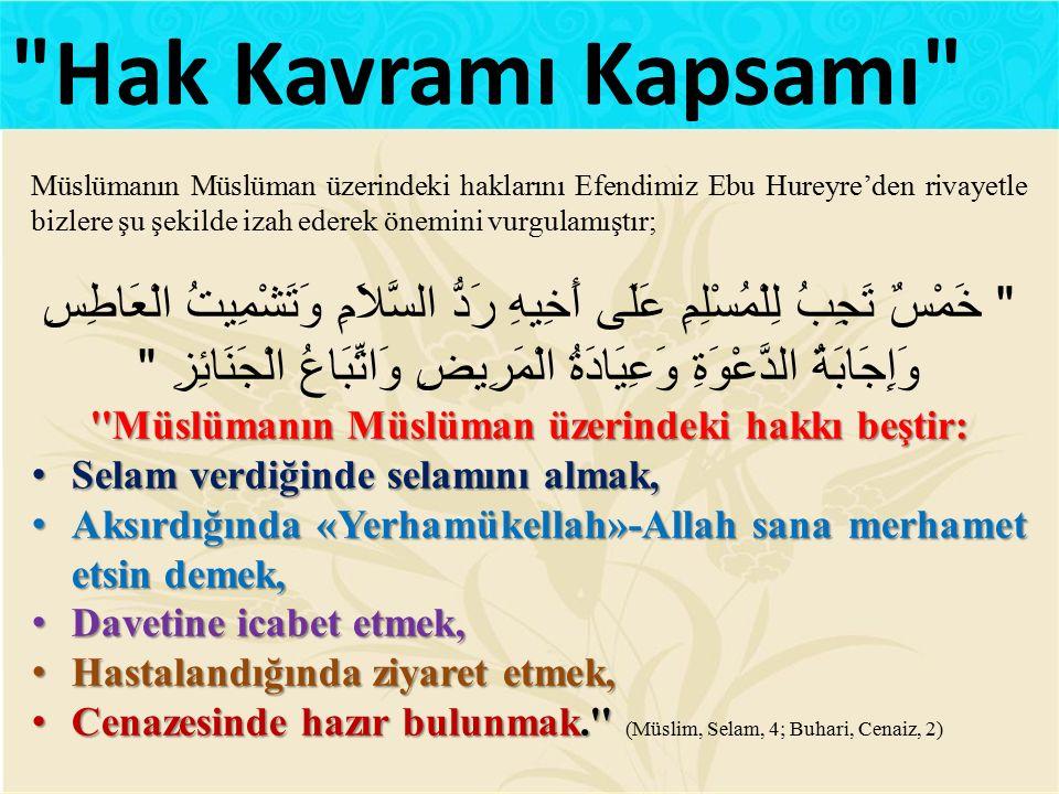Müslümanın Müslüman üzerindeki haklarını Efendimiz Ebu Hureyre'den rivayetle bizlere şu şekilde izah ederek önemini vurgulamıştır;
