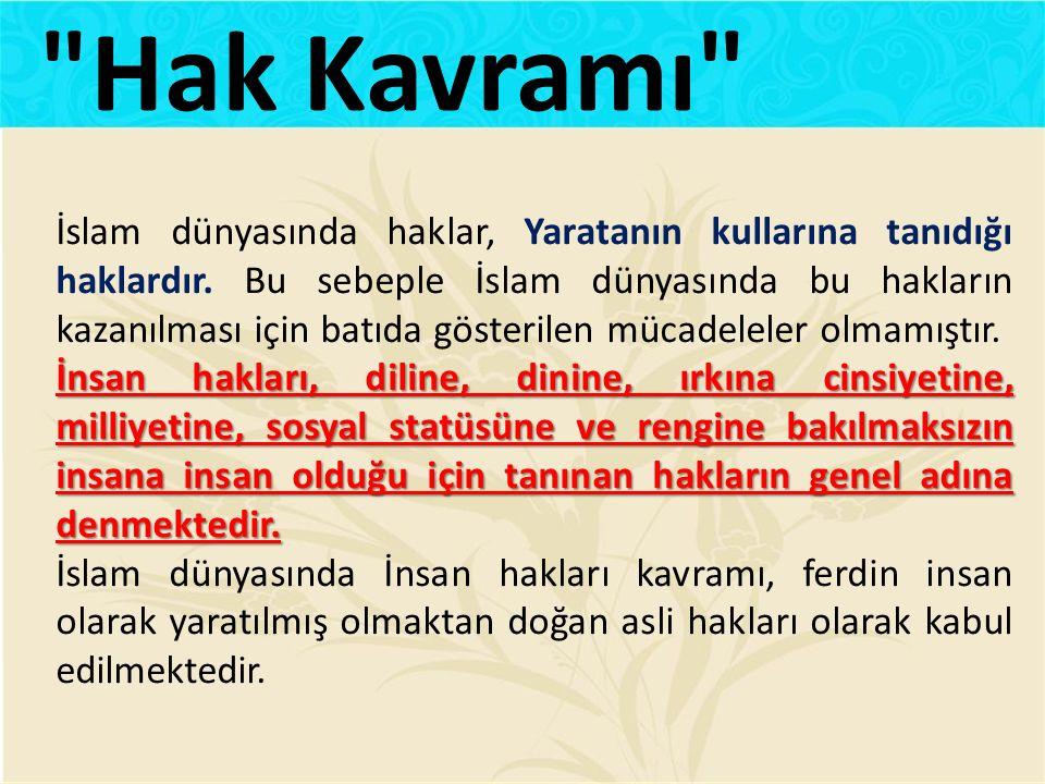 İslam dünyasında haklar, Yaratanın kullarına tanıdığı haklardır. Bu sebeple İslam dünyasında bu hakların kazanılması için batıda gösterilen mücadelele