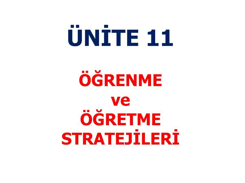 ÜNİTE KAZANIMLARI 1.Kendi öğrenme stratejilerini fark eder 2.Bireylerin öğrenme stratejilerinin farklılaşabileceğini ayırt edebilir 3.Farklı öğrenme stratejilerini örneklendirerek açıklayabilir 4.Kendinde var olduğunu düşündüğü öğrenme stratejilerinin etkililiğini değerlendirebilir.