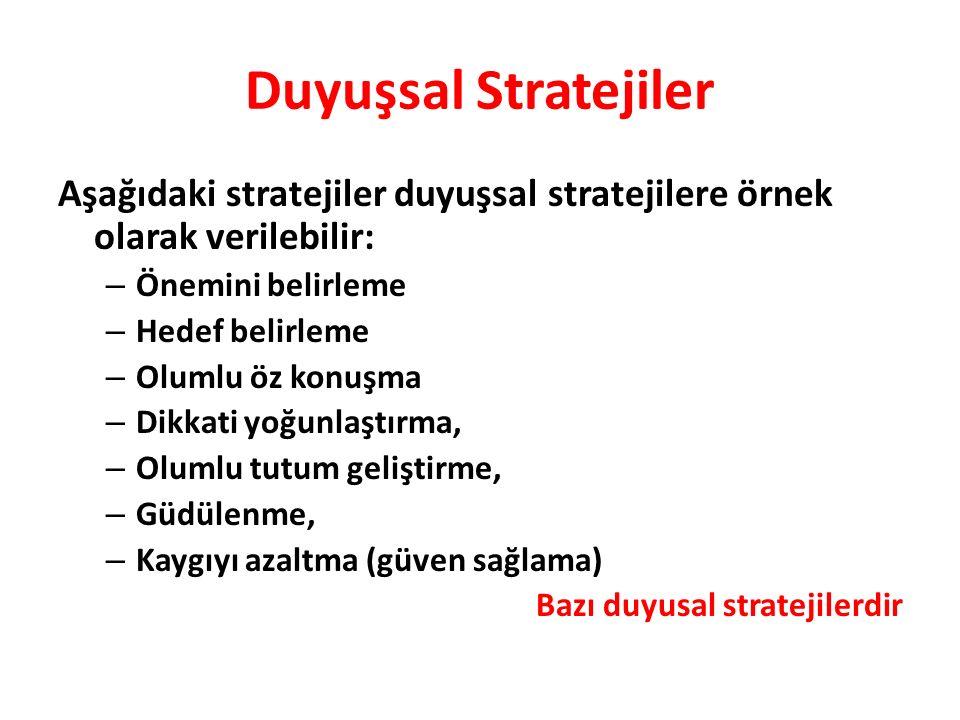 Aşağıdaki stratejiler duyuşsal stratejilere örnek olarak verilebilir: – Önemini belirleme – Hedef belirleme – Olumlu öz konuşma – Dikkati yoğunlaştırma, – Olumlu tutum geliştirme, – Güdülenme, – Kaygıyı azaltma (güven sağlama) Bazı duyusal stratejilerdir Duyuşsal Stratejiler