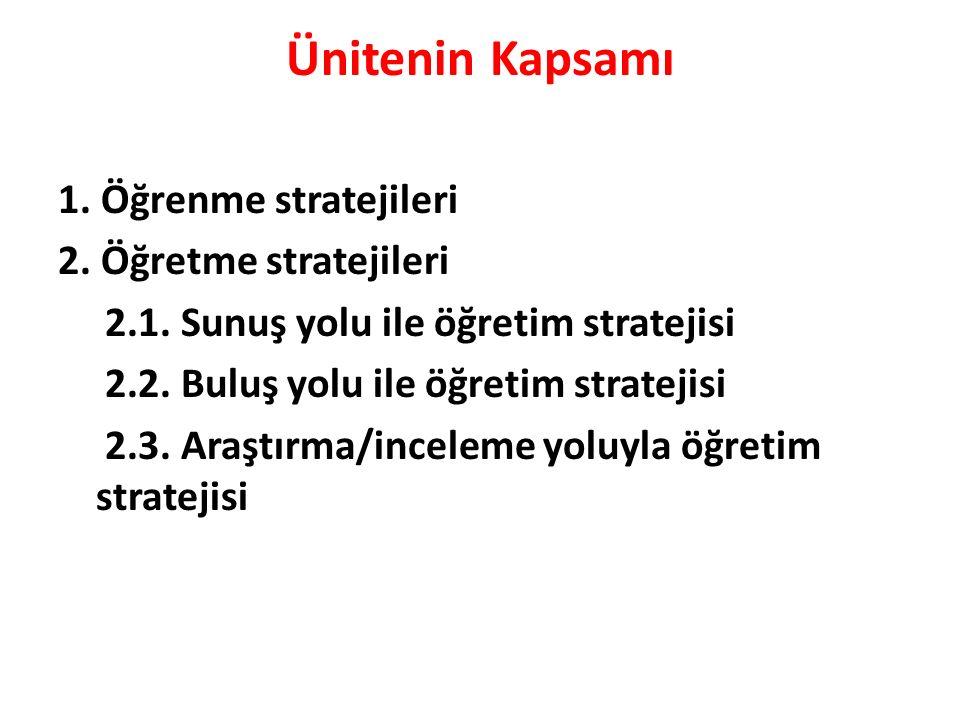 Ünitenin Kapsamı 1.Öğrenme stratejileri 2. Öğretme stratejileri 2.1.
