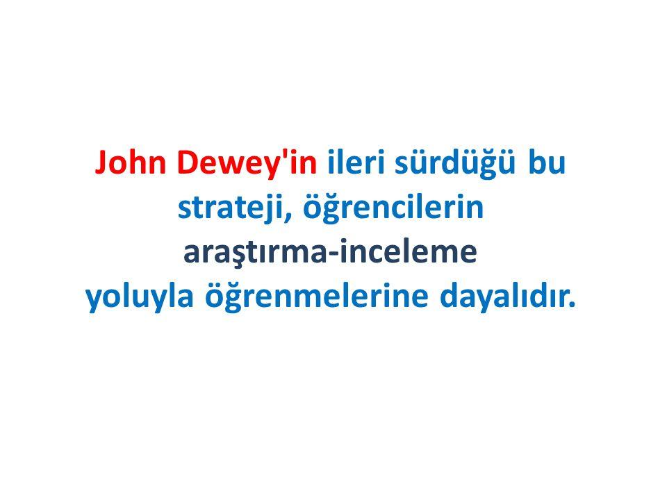 John Dewey in ileri sürdüğü bu strateji, öğrencilerin araştırma-inceleme yoluyla öğrenmelerine dayalıdır.
