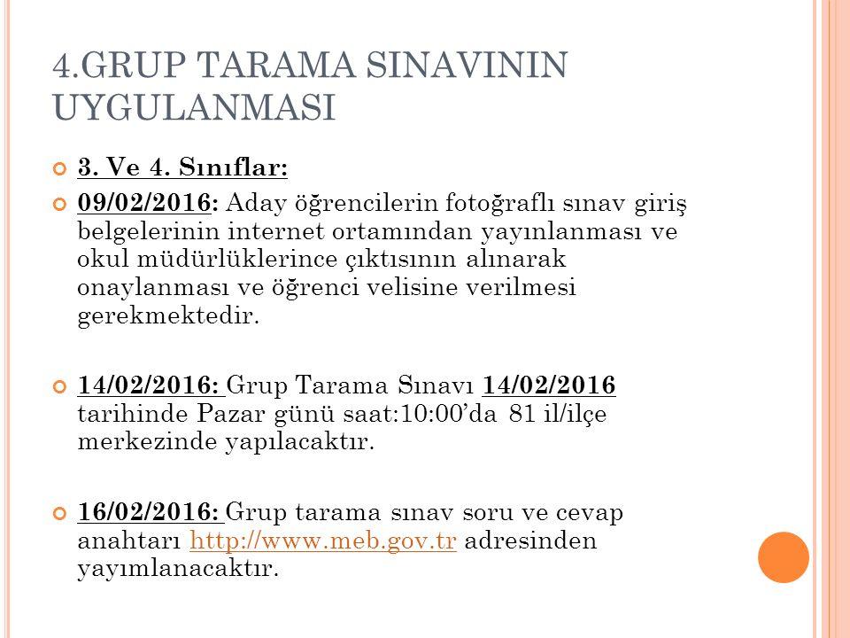 4.GRUP TARAMA SINAVININ UYGULANMASI 3. Ve 4. Sınıflar: 09/02/2016: Aday öğrencilerin fotoğraflı sınav giriş belgelerinin internet ortamından yayınlanm