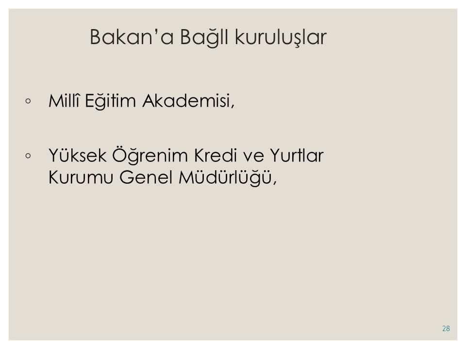 Bakan'a BağlI kuruluşlar ◦ Millî Eğitim Akademisi, ◦ Yüksek Öğrenim Kredi ve Yurtlar Kurumu Genel Müdürlüğü, 28