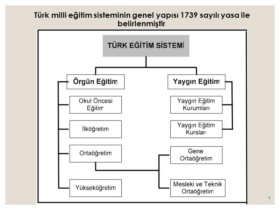 Türk milli eğitim sisteminin genel yapısı 1739 sayılı yasa ile belirlenmiştir. 4