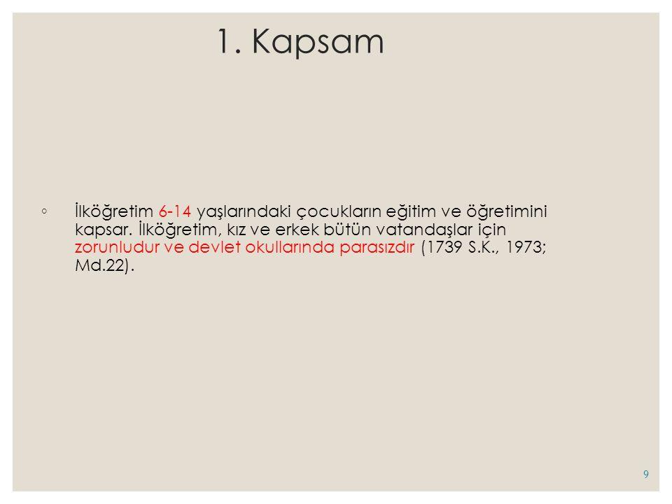 1.Kapsam ◦ İlköğretim 6-14 yaşlarındaki çocukların eğitim ve öğretimini kapsar.