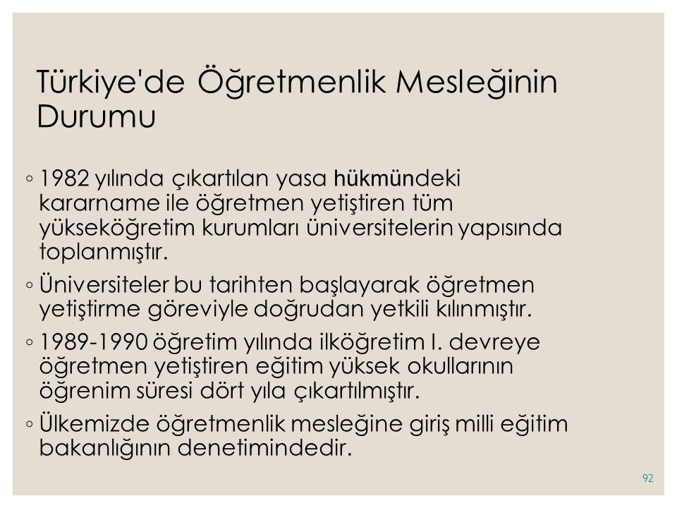 Türkiye de Öğretmenlik Mesleğinin Durumu ◦ 1982 yılında çıkartılan yasa hükmün deki kararname ile öğretmen yetiştiren tüm yükseköğretim kurumları üniversitelerin yapısında toplanmıştır.