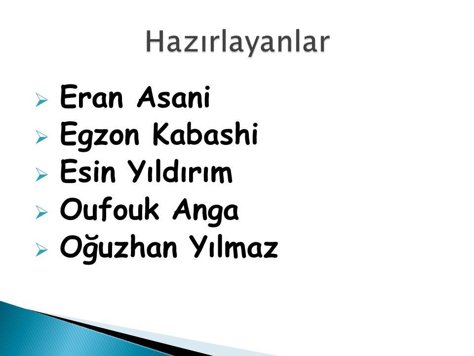  Eran Asani  Egzon Kabashi  Esin Yıldırım  Oufouk Anga  Oğuzhan Yılmaz