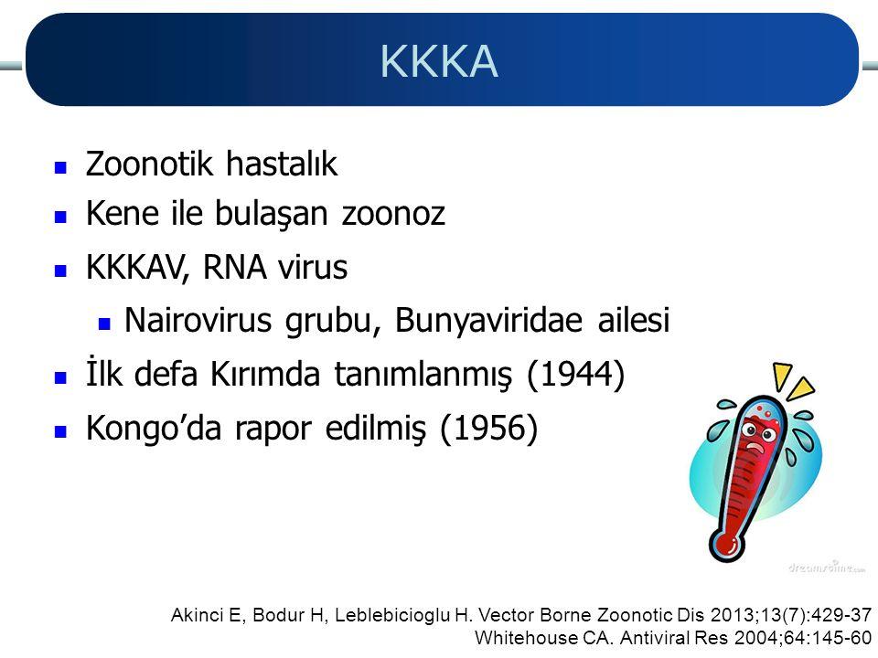 KKKA Zoonotik hastalık Kene ile bulaşan zoonoz KKKAV, RNA virus Nairovirus grubu, Bunyaviridae ailesi İlk defa Kırımda tanımlanmış (1944) Kongo'da rap