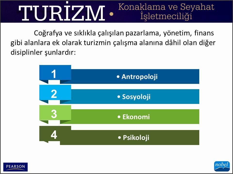 Coğrafya ve sıklıkla çalışılan pazarlama, yönetim, finans gibi alanlara ek olarak turizmin çalışma alanına dâhil olan diğer disiplinler şunlardır: 3 2