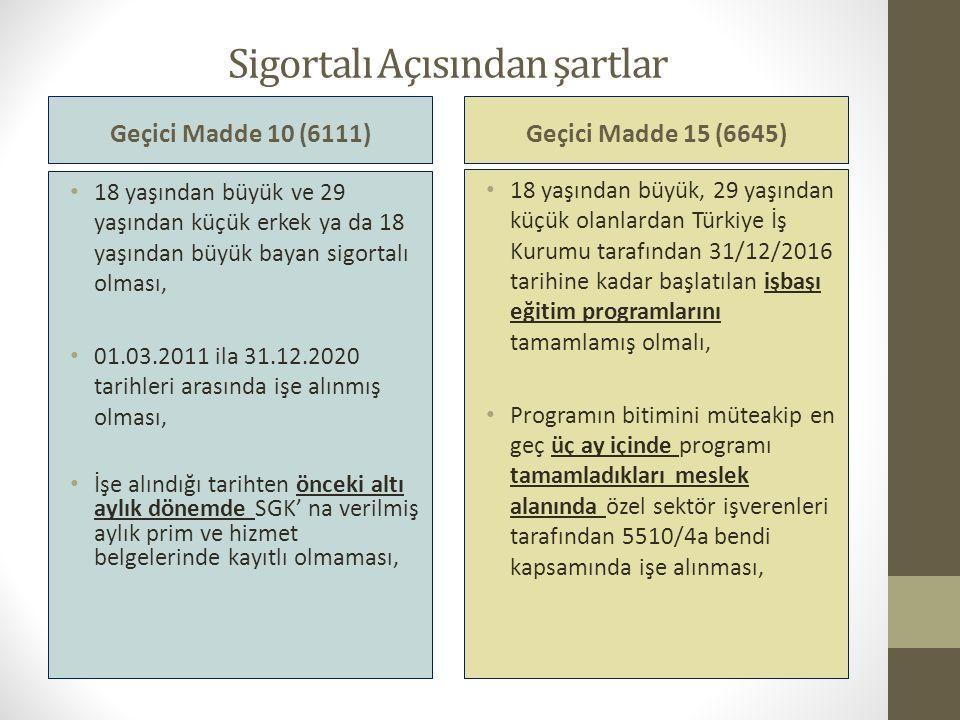 Sigortalı Açısından şartlar Geçici Madde 10 (6111) 18 yaşından büyük ve 29 yaşından küçük erkek ya da 18 yaşından büyük bayan sigortalı olması, 01.03.2011 ila 31.12.2020 tarihleri arasında işe alınmış olması, İşe alındığı tarihten önceki altı aylık dönemde SGK' na verilmiş aylık prim ve hizmet belgelerinde kayıtlı olmaması, Geçici Madde 15 (6645) 18 yaşından büyük, 29 yaşından küçük olanlardan Türkiye İş Kurumu tarafından 31/12/2016 tarihine kadar başlatılan işbaşı eğitim programlarını tamamlamış olmalı, Programın bitimini müteakip en geç üç ay içinde programı tamamladıkları meslek alanında özel sektör işverenleri tarafından 5510/4a bendi kapsamında işe alınması,